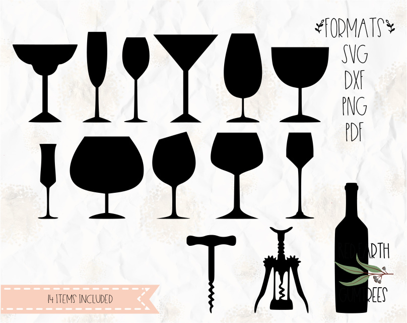 Wine Glass Wine Cork Wine Bottle Collection In Svg Pdf