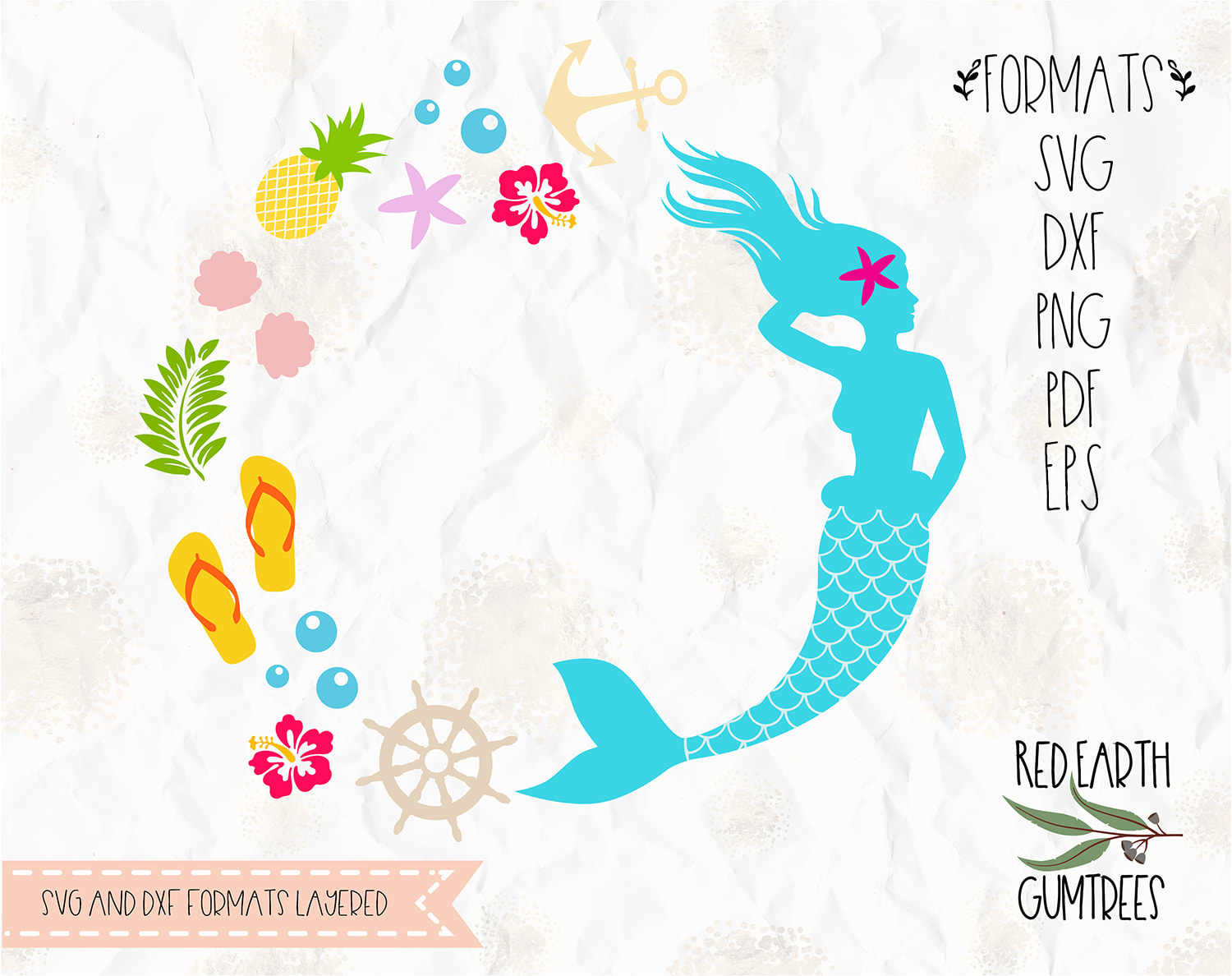 Tropical Mermaid Monogram frame in SVG, PDF, DXF, PNG,EPS formats