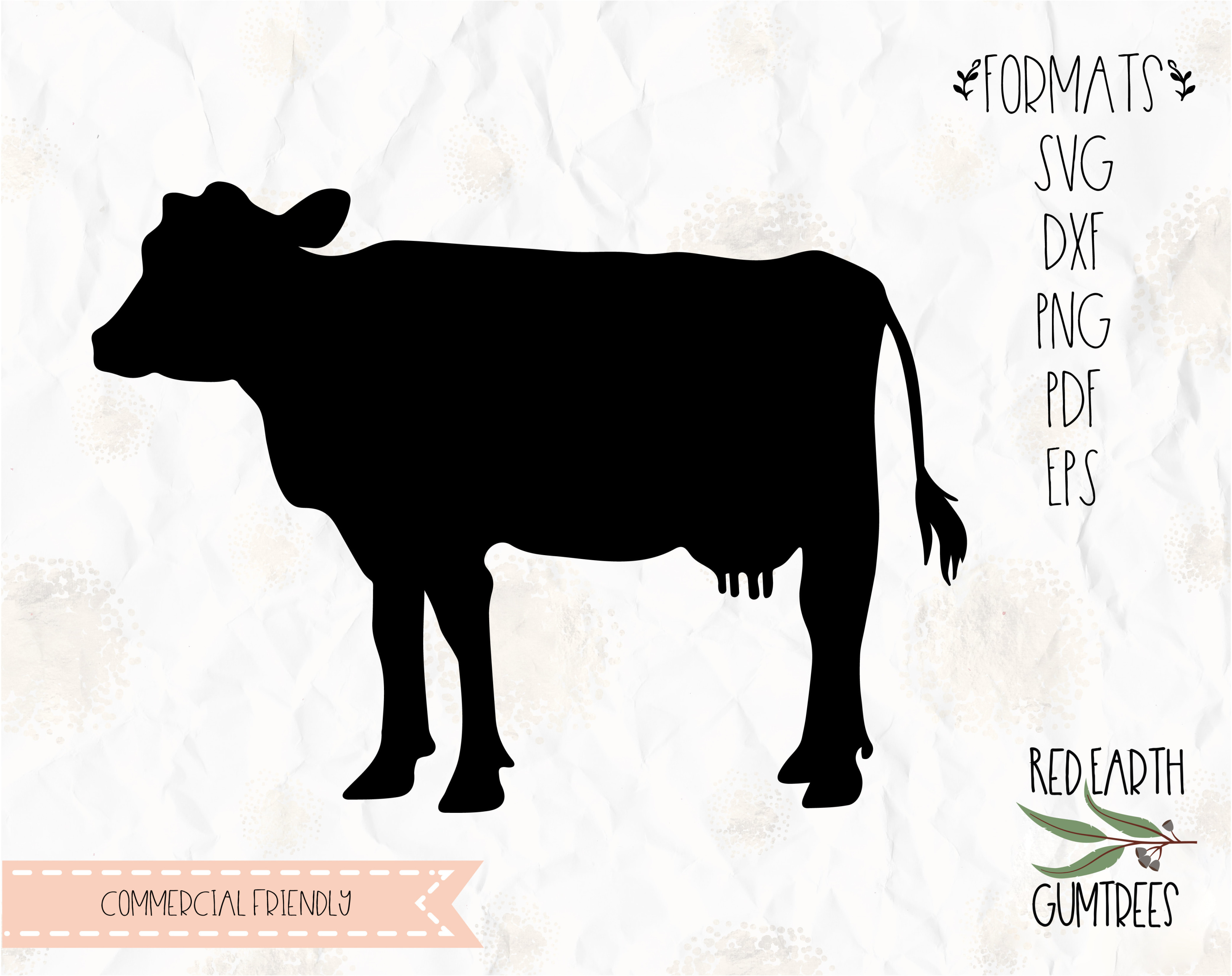 Svg Eps Dxf Png Pdf: Cow Silhouette, Farm Animal In SVG, EPS, PDF, DXF, PNG