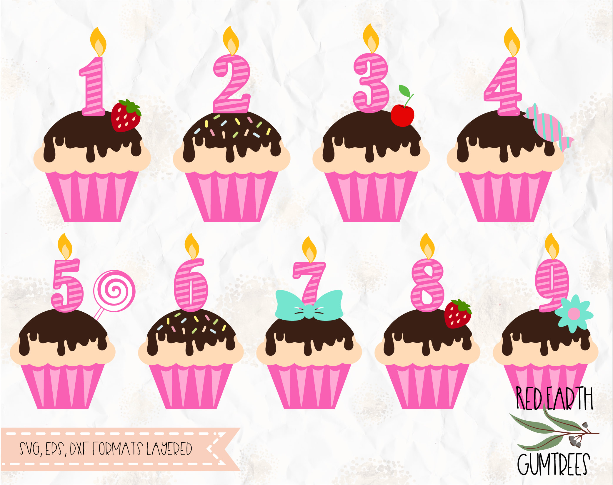 Birthday Cupcake Toppers In SVG EPS PDF DXF PNG Formats Cupcakes Pink Sweet Numbers Girl Candles