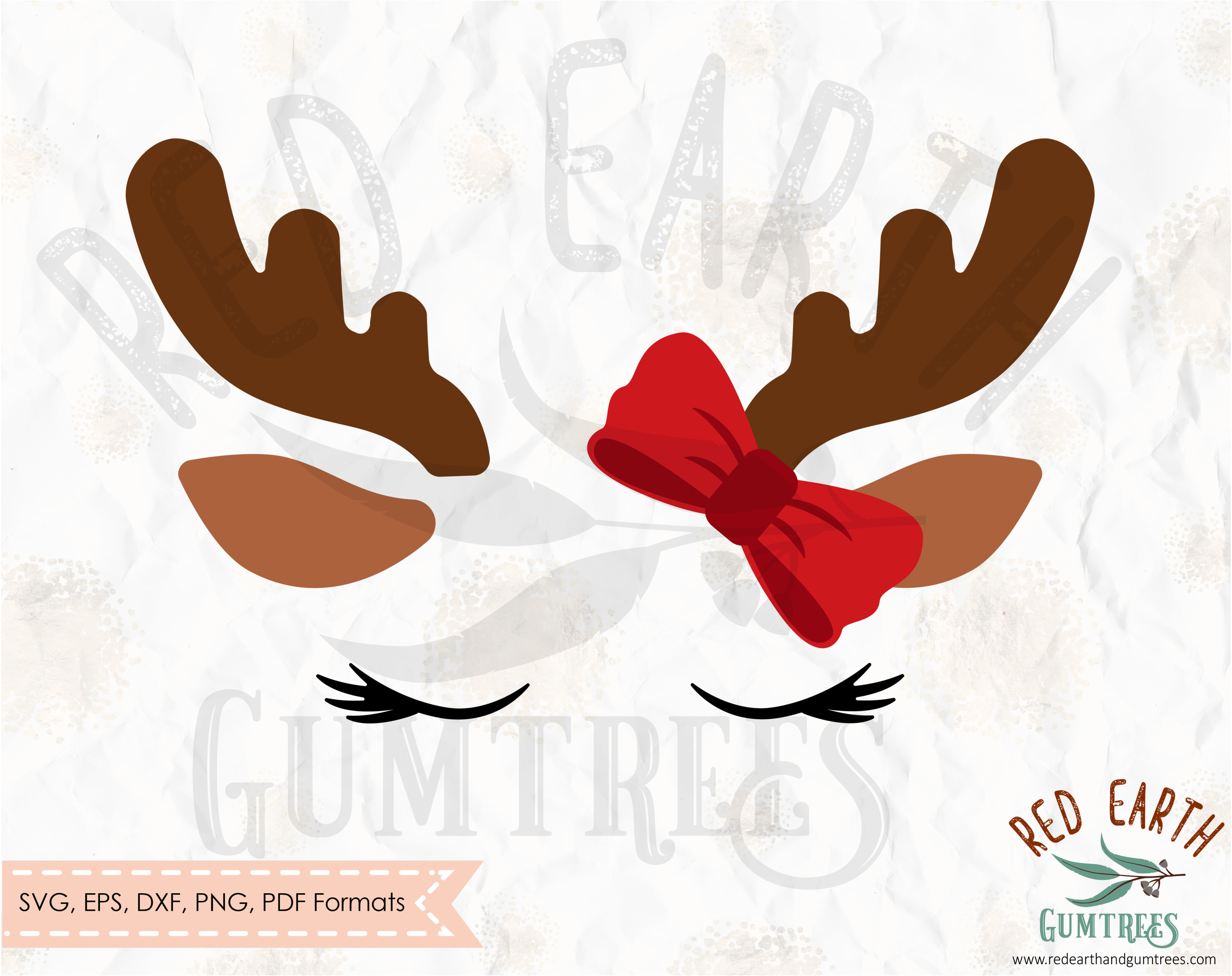 Christmas Reindeer with lashes and bow, kids christmas shirt design ...