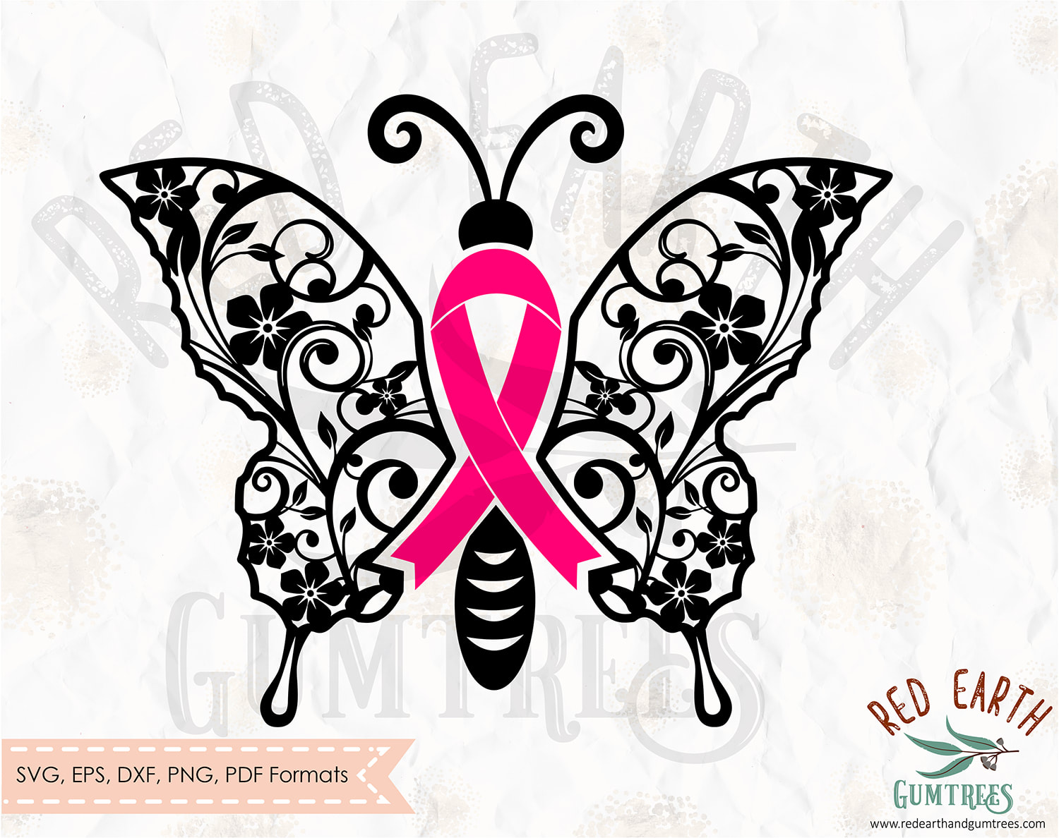 Free Butterfly Cancer Ribbon Free Floral Butterfly Cancer Ribbon Survivor In Svg Eps Pdf Dxf Png Formats Cancer Pink Ribbon Free Breast Cancer Ribbon Cricut Silhouette Cameo Vinyl Decal T Shirt Design Mtc